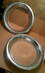 Vintage Pair Of Two Chrome Rally Style Wheel Trim Rings 16 1 4 Lot A Pair