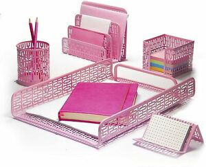 Hudstill Pink Cute Desk Organizer Set For Women And Girls In Art Deco Design