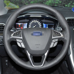 Stitch Leather Wrap Steering Wheel Cover For Ford Fusion Mondeo 2013 2019 Edge