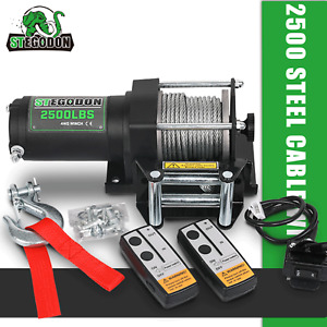 Stegodon Electric Winch 2500lbs 12v Dc Steel Cable W Remote Atv utv Off Road