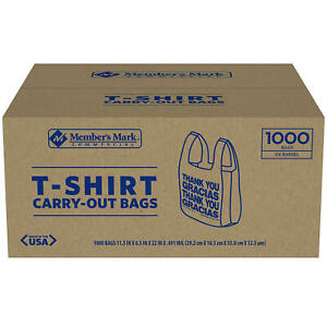 Member s Mark T shirt Carry out Bags 1 000 Ct Free Shipping