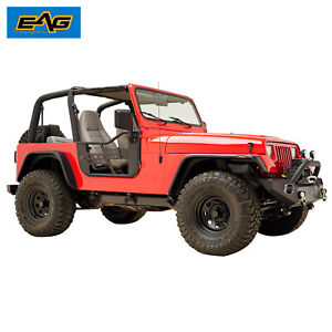 Eag Safari Tubular Door Black With Mirror Fit For 76 95 Jeep Cj7 yj Wrangler
