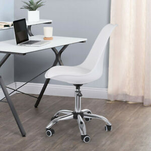Armless Office Chair White Mid Back Leather Adjustable Height