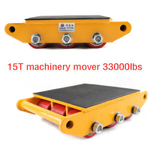 15ton 33000lb Machinery Dolly Skate Machinery Roller Mover Cargo Trolley Usa