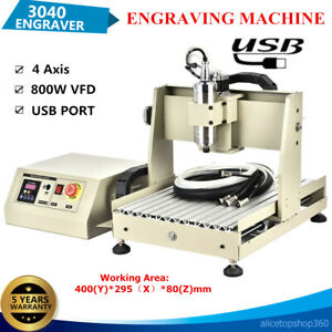 Usb 4axis 800w Cnc 3040 Router Engraver 3d Pcb Wood Engraving Mill Drill Machine