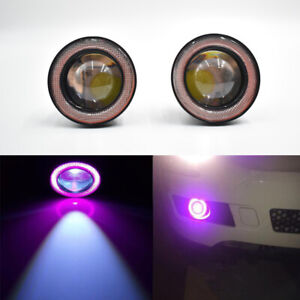 3 5 Inch Cob Led Fog Light Projector Car Purple Angel Eyes Halo Ring Drl Lamp