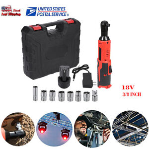 18v Cordless Electric Ratchet Impact Wrench Tool W socket adapter battery charge