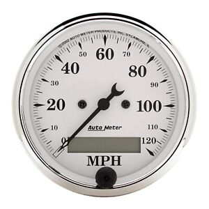 Autometer 1688 Old Tyme White Electric Programmable Speedometer 3 1 8 120 Mph