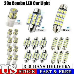 20 Combo Led Car Interior Inside Light Dome Map Door License Plate Lights White