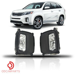 Fits 2014 2015 Kia Sorento Front Driving Fog Light Lamp With Bezel Set