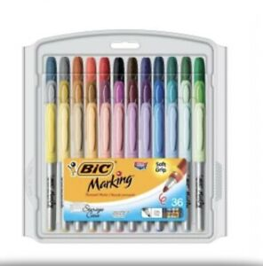 Bic Mark it Permanent Fashion Markers With Reusable Case Assorted Pack Of 36