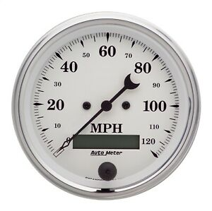 Autometer 1680 Old Tyme White Electric Programmable Speedometer 3 3 8 120 Mph