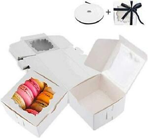 Thalia 60 Pack White Bakery Boxes With Window Pastry Box Donut Boxes For Small P