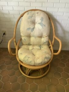 Vintage Mid Century Rattan Swivel Rocking Chair Floral Cushion