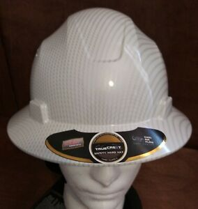 Hard Hat Hdpe Hydro dipped white silver Full brim With Fas Trac Suspension