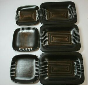 6 Pieces Glidden Pottery Fong Chow Afrikaans Square amp; Oblong Dishes Black Brown