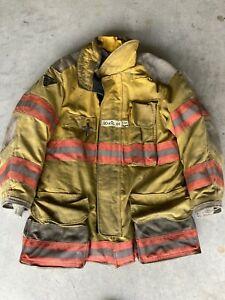 Firefighter Janesville Lion Apparel Turnout Coat 40x32 Inch 2004 Orange Trim