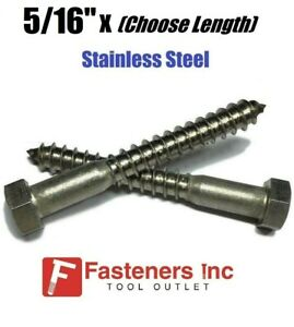 5 16 Stainless Steel Lag Screws Hex Head Lag Bolts Select Length Pkg Qty