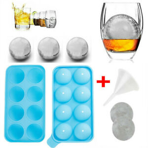 Round Ice Cube Ball Makers Tray Silicone Sphere Mold Bar Whiskey Cocktail Funnel
