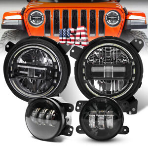 7 Led Halo Headlight Bracke Fog Light Kit For Jeep Jl Rubicon Sahara 2018 2021