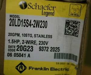 Franklin Electric Pump 20ld15s4 2w230 New