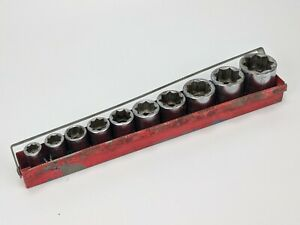 Snap On 10pc Double Square 1 2 Drive Sae Shallow Socket Set W Tray 8 Point
