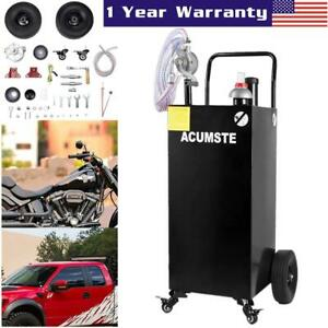Pro 30 Gallon Gas Fuel Diesel Caddy Transfer Tank Container W Rotary Pump Us