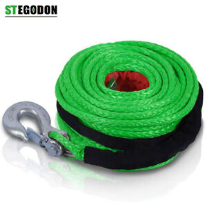 St Winch Rope Dyneema Synthetic With Hook 3 8 X 100ft 23 809 Lbs Recovery Cable