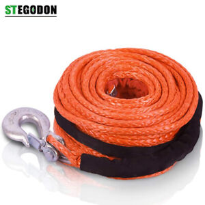 St Dyneema Winch Rope Synthetic With Hook 3 8 X 100ft 23 809 Lbs Recovery Cable