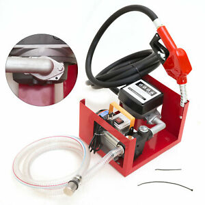 220v 550w Electric Diesel Oil Fuel Transfer Pump W Mechanical Meter Hose Nozzle
