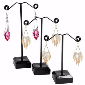 3pcs Metal Tree Earring Necklace Display Jewelry Holder Stand Display Rack Black
