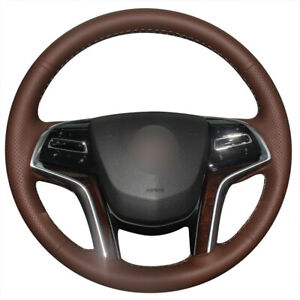 Brown Leather Car Steering Wheel Cover For Cadillac Srx 2013 2015