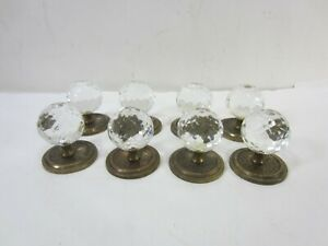 8 Vintage Faceted Glass Round Drawer Knobs W Brass Backplates 723