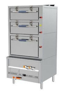 Panda 36 Commercial Steamer With 3 compartment 6 Racks Gas 153 560 Btu Nsf