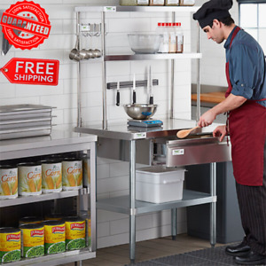 Stainless Steel Work Prep Table Commercial Double Deck Overshelf 12 X 36 X 32