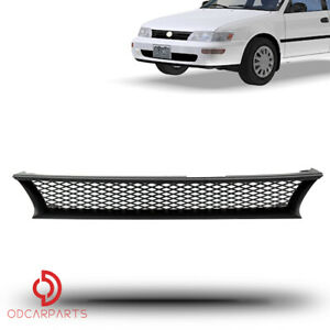 Fits 1993 1997 Toyota Corolla Front Upper Grille Grill Black Badgeless Mesh