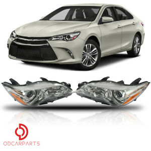Fits Toyota Camry 2015 2016 2017 Headlights Headlamps Chrome Housing Set