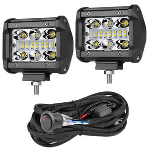 Wiring Kit 2x 6 Led Work Light Pods Spot Flood Reverse Off Road 4wd Super Slim