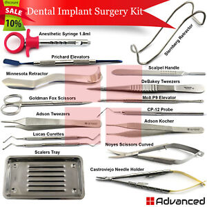 16pcs Dental Implant Surgical Instruments Periosteal Elevators Surgical Tweezers
