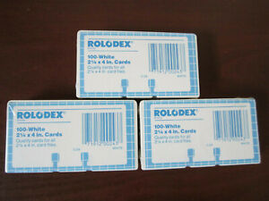 3 Packs Rolodex C24 Refill White Cards 2 1 4 X 4 New Sealed 300 Cards