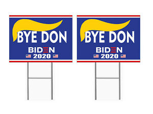 Double Sided Biden 2020 Bye Don 12x18 Yard Sign Corrugated Lawn Election 2 Pcs