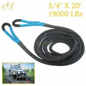 Black 3 4 20ft Kinetic Energy Rope Truck Suv Tow Rope Recovery Rope Towing Rope
