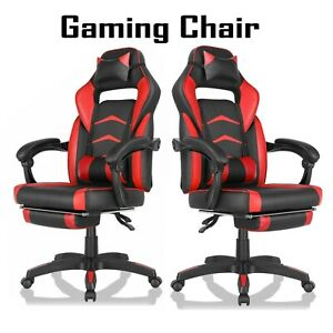 Gaming Chair Racing Computer Office Chair Pvc High Back Footrest Ergonomic Red