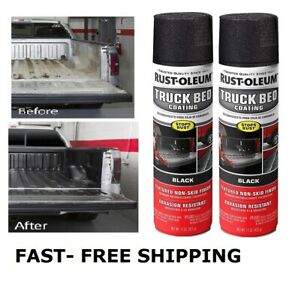 2 X Black Truck Bed Liner Trailer Coating Spray Protection Automotive Paint 15oz