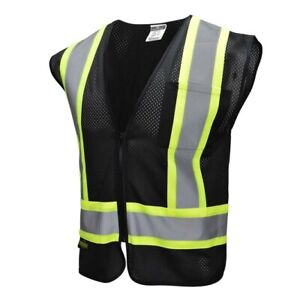 Black Two Tones Safety Vest Radians Reflective Tape Mesh Class 1