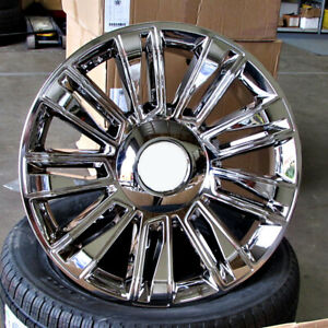 Cadillac 9 Spokes Style 24x10 6x139 7 Et24 Chrome W Chrome Insert Wheels Set