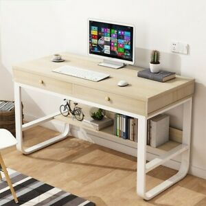 Computer Desk Corner Home Office Desk Study Table Furniture Metal With 2 Drawers