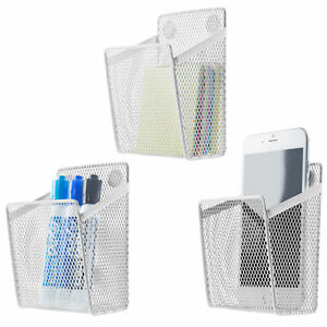 Mygift Set Of 3 White Wire Mesh Magnetic Office Supply Storage Basket Organizers