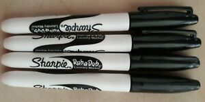 Sharpie Rub a dub Permanent Marker Fine Point Black Ink 4 count No Packaging