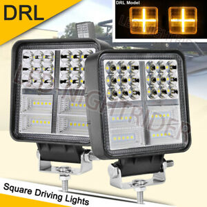 2x 5 Led Driving Spot Lights Round Square Flood Offroad Drl Amber Fog Work Pods